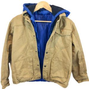 Gap Kids Boy's Khaki & Blue Hooded Jacket - XL/12
